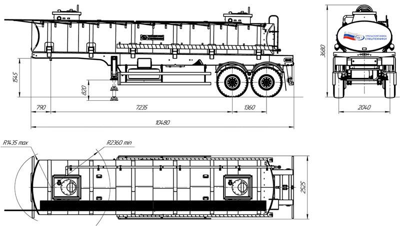 Габаритный чертеж полуприцепа-цистерны УЗСТ ППЦ-20-007 для для техводы