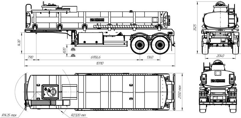 Габаритный чертеж полуприцепа-цистерны марки УЗСТ ППЦ-20-011 для ГСМ