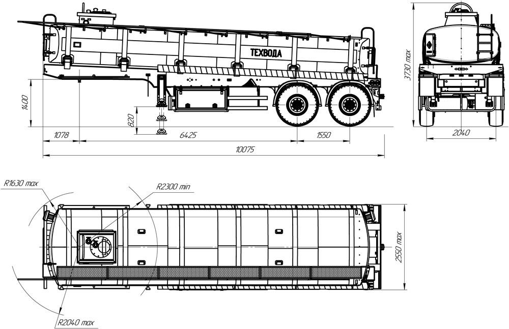 Габаритный чертеж полуприцепа-цистерны марки УЗСТ ППЦ-20-016 для техводы