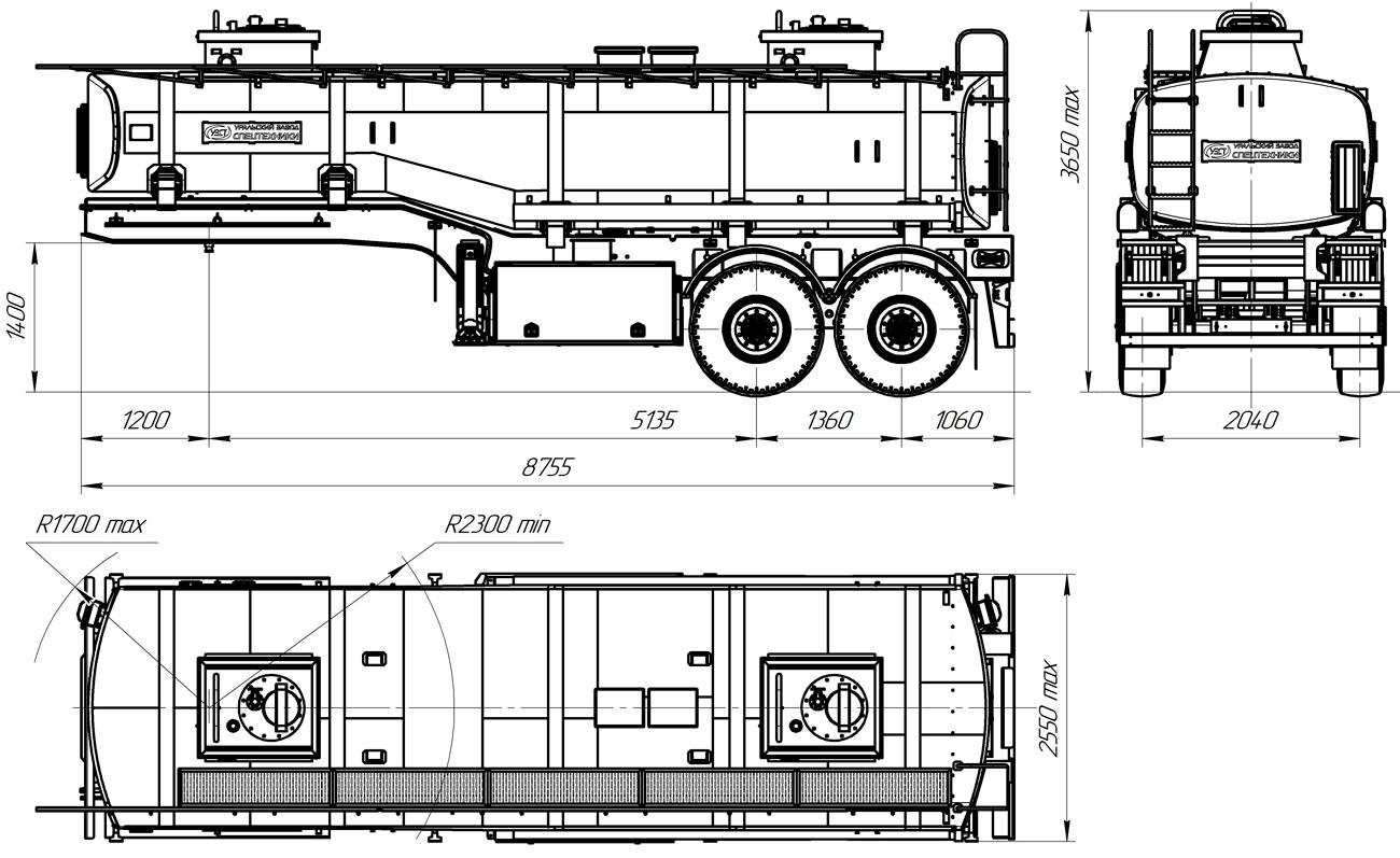Габаритный чертеж полуприцепа-цистерны УЗСТ-ППЦ-22 м³ (2-осного, переменного сечения)