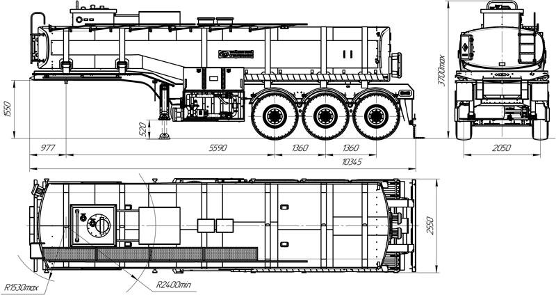 Габаритный чертеж полуприцепа-цистерны марки УЗСТ-9174 ППЦ-25-001 для ГСМ