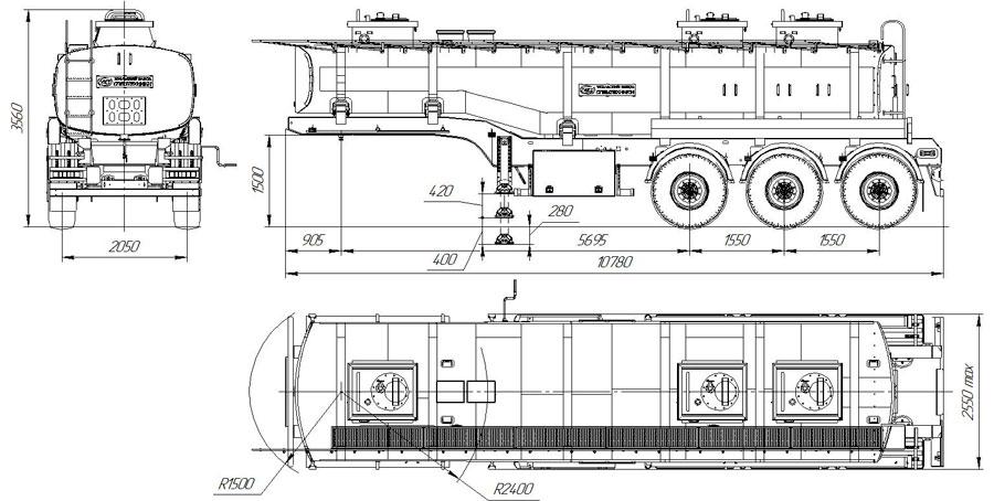 Габаритный чертеж полуприцепа-цистерны марки УЗСТ-9174 ППЦ-26-004 для ГСМ