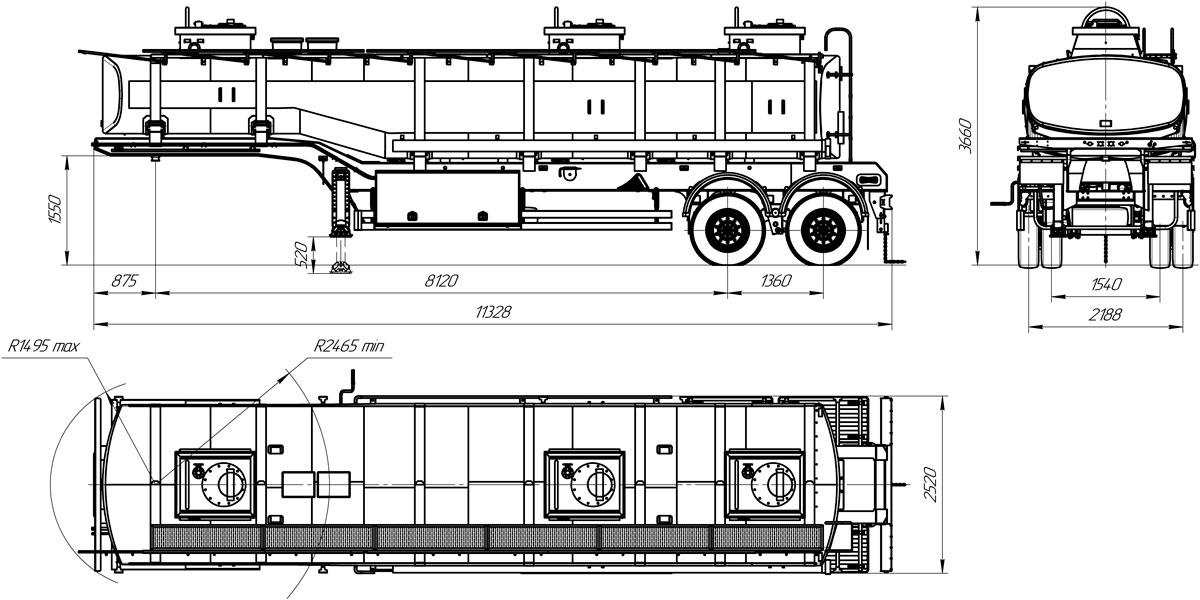 Габаритный чертеж полуприцепа-цистерны УЗСТ ППЦ-28-001 для ГСМ