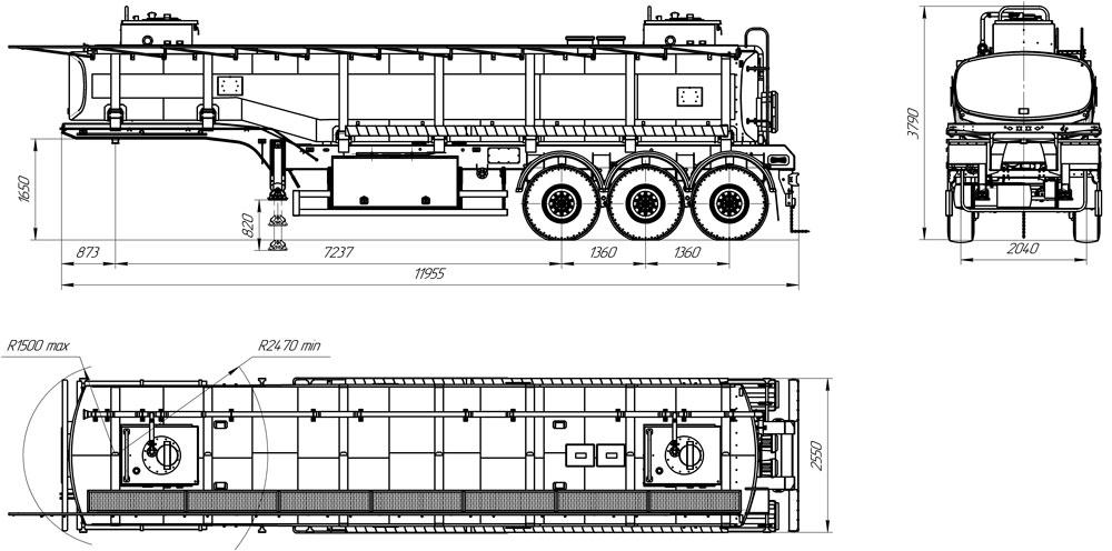 Габаритный чертеж полуприцепа-цистерны марки УЗСТ-9174 ППЦ-30-004 для ГСМ