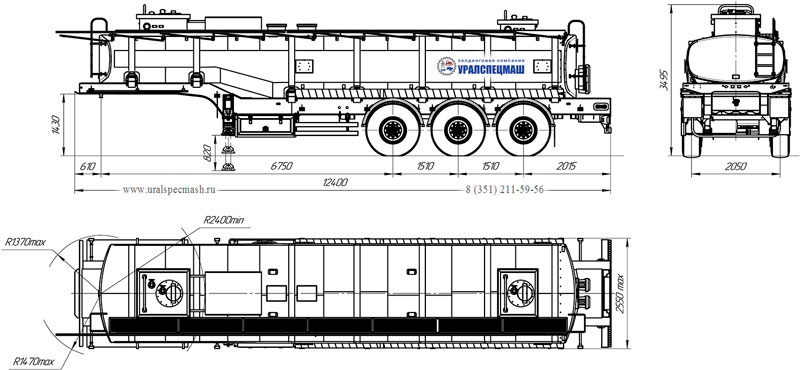 Габаритный чертеж полуприцепа-цистерны УЗСТ-9174 ППЦ-30-006 для ГСМ