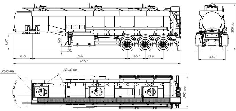 Габаритный чертеж полуприцепа-цистерны марки УЗСТ-9174 ППЦ-30-007 для ГСМ