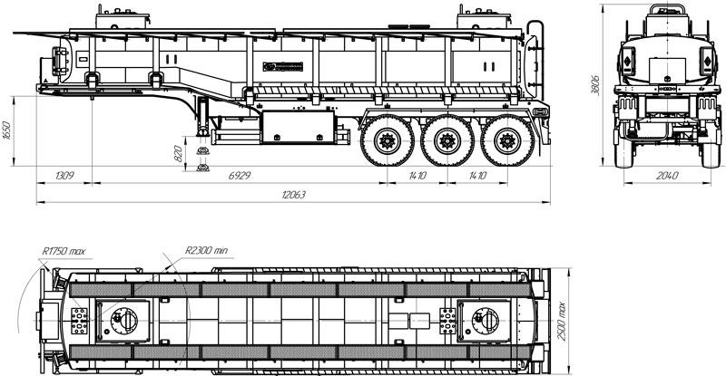 Габаритный чертеж полуприцепа-цистерны марки УЗСТ ППЦ-30-009 для ГСМ