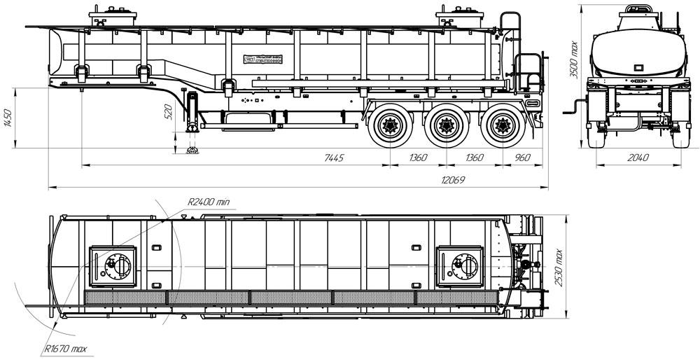 Габаритный чертеж полуприцепа-цистерны марки УЗСТ ППЦ-30-010 для техводы