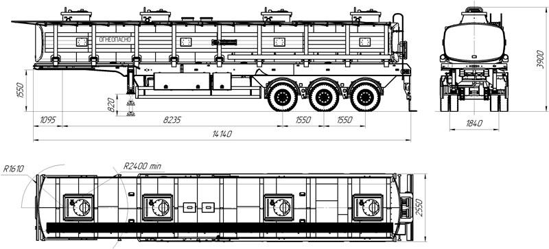 Габаритный чертеж полуприцепа-цистерны марки УЗСТ-9174 ППЦ-40-001 для ГСМ