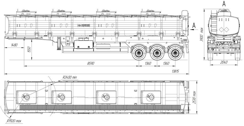 Габаритный чертеж полуприцепа-бензовоза 40 м3 – 4 цистерна 4 секции