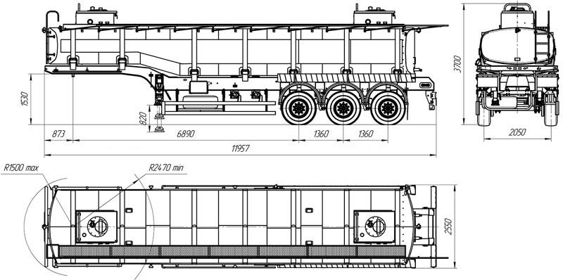 Габаритный чертеж полуприцепа-цистерны УЗСТ ППЦ-30-005 для техводы