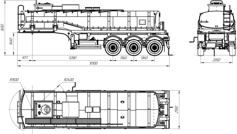 Габаритный чертеж полуприцепа-цистерны УЗСТ-9174 ППЦ-24-001 для ГСМ