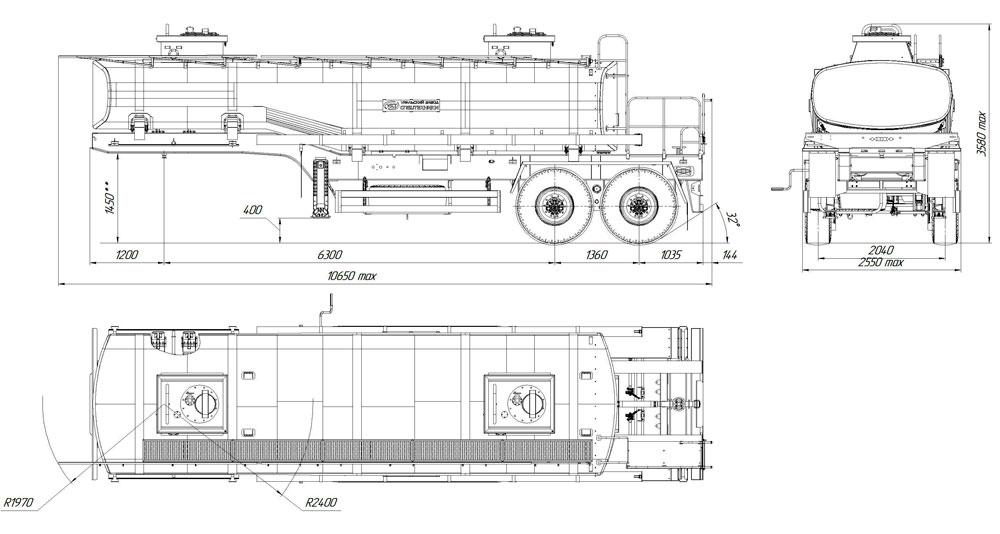 Габаритный чертеж полуприцепа-цистерны марки УЗСТ ППЦ-22-002 для техводы