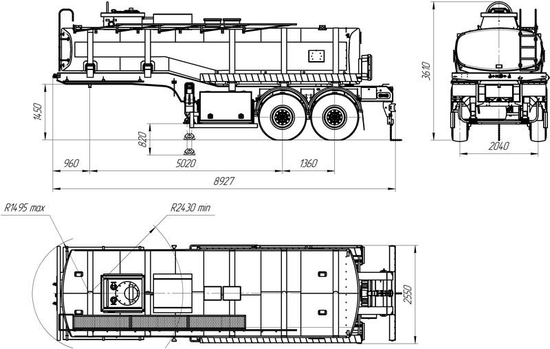 Габаритный чертеж полуприцепа-цистерны марки УЗСТ ППЦ-20-003 для ГСМ