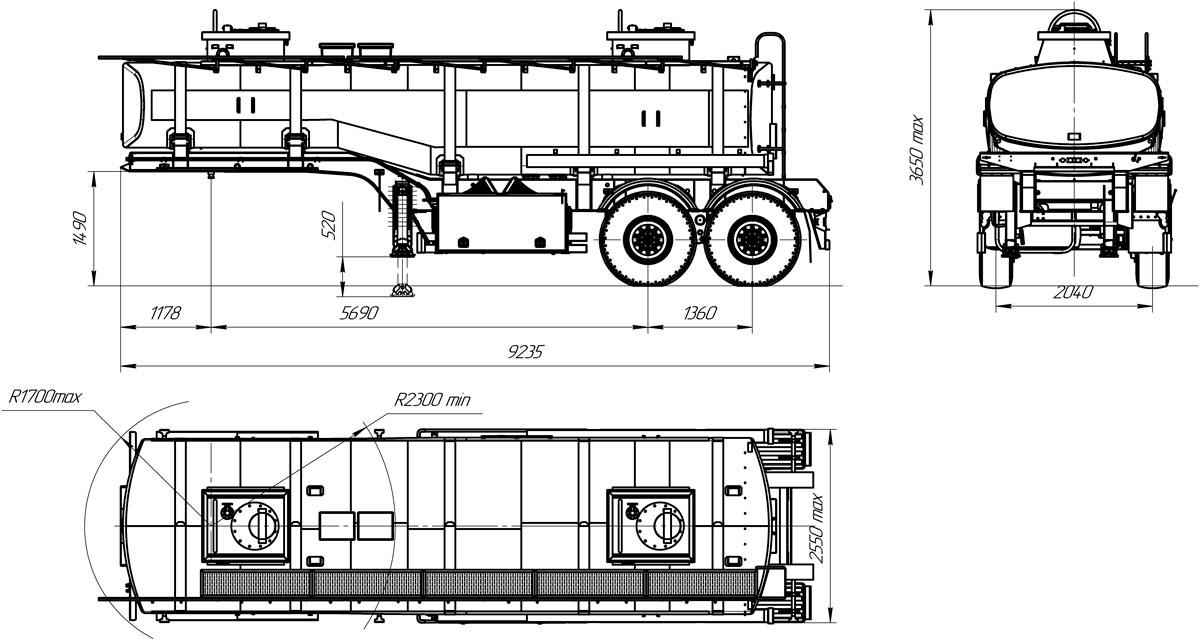 Габаритный чертеж полуприцепа-цистерны УЗСТ ППЦ-22-001 для ГСМ