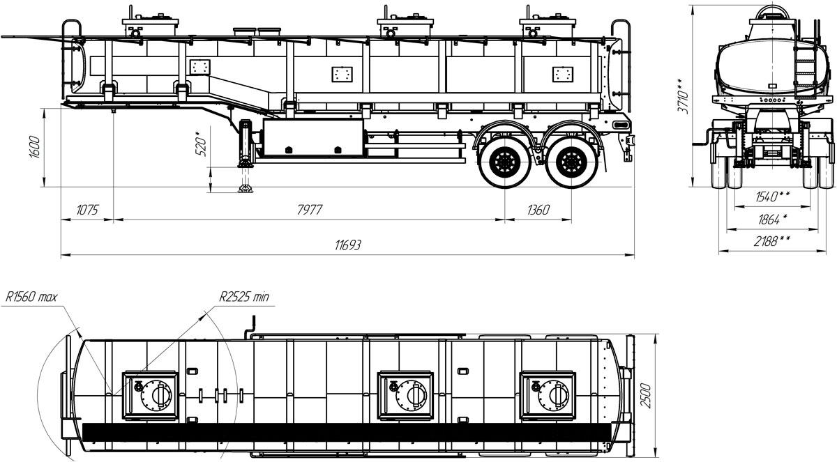 Габаритный чертеж полуприцепа-цистерны марки УЗСТ ППЦ-30-002 для ГСМ