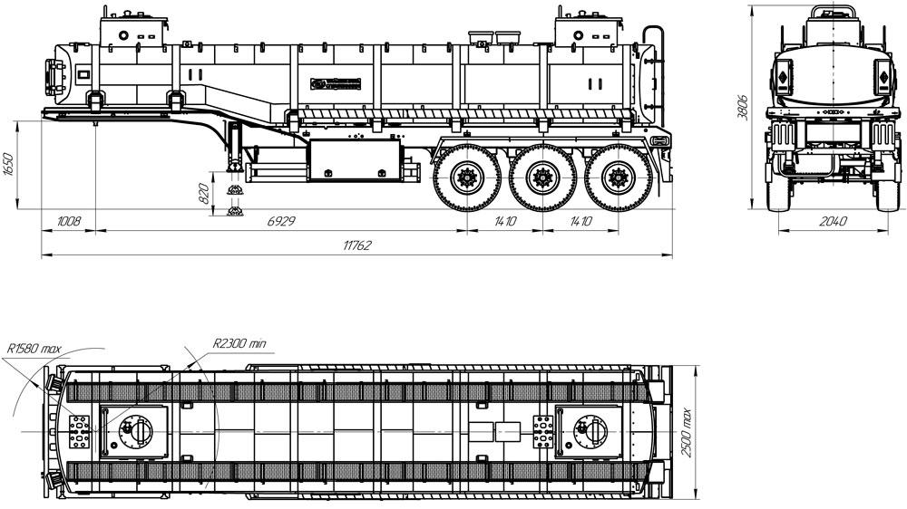 Габаритный чертеж полуприцепа-цистерны марки УЗСТ ППЦ-30-009-10 для ГСМ