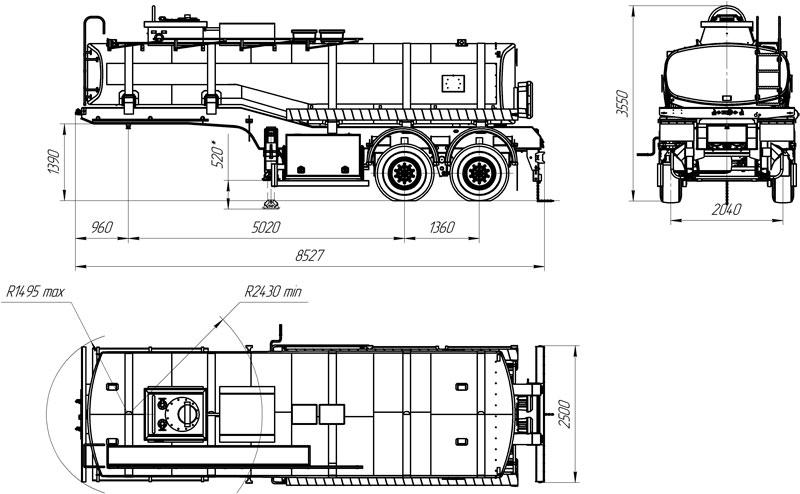Габаритный чертеж полуприцепа-цистерны марки УЗСТ ППЦ-20-001 для нефти