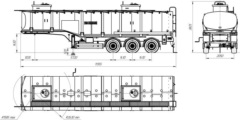 Габаритный чертеж полуприцепа-цистерны марки УЗСТ ППЦ-26-001 для нефти