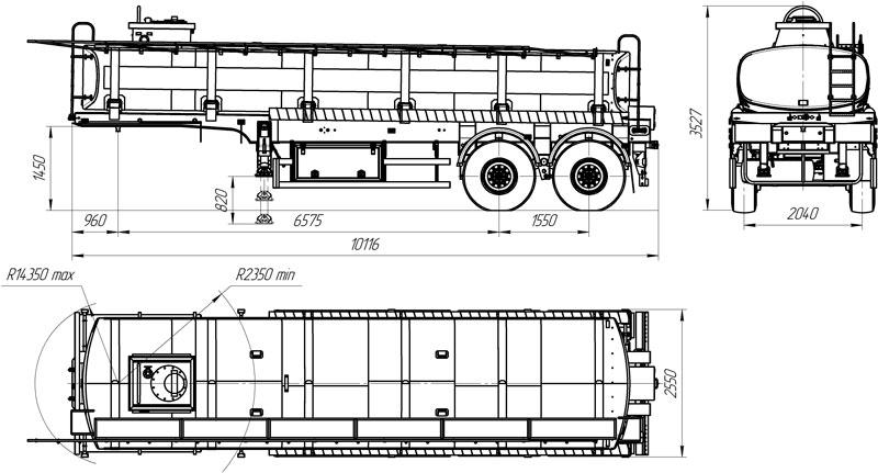 Габаритный чертеж полуприцепа-цистерны марки УЗСТ ППЦ-20-002 для техводы