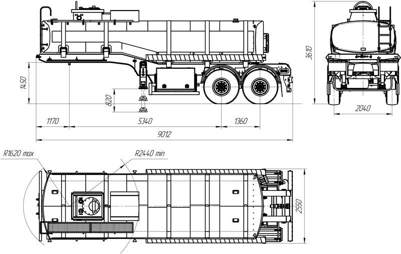 Габаритный чертеж полуприцепа-цистерны марки УЗСТ ППЦ-20-004 для техводы