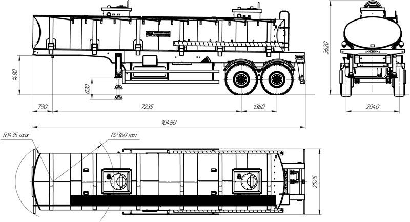 Габаритный чертеж полуприцепа-цистерны марки УЗСТ ППЦ-20-008 для техводы