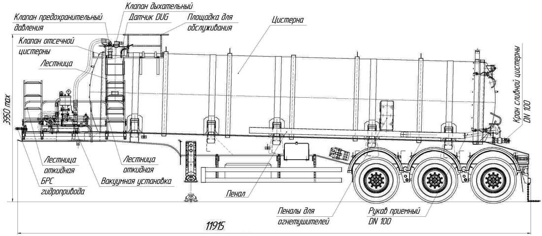 Габаритный чертеж трехосного полуприцепа-цистерны вакуумного УЗСТ-ППЦ-24 куб.м