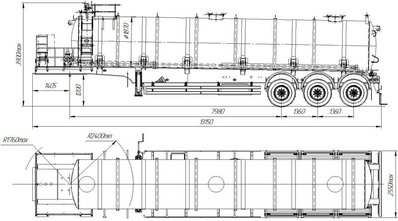 Габаритный чертеж полуприцепа-кислотовоза марки УЗСТ ППЦК-30-001