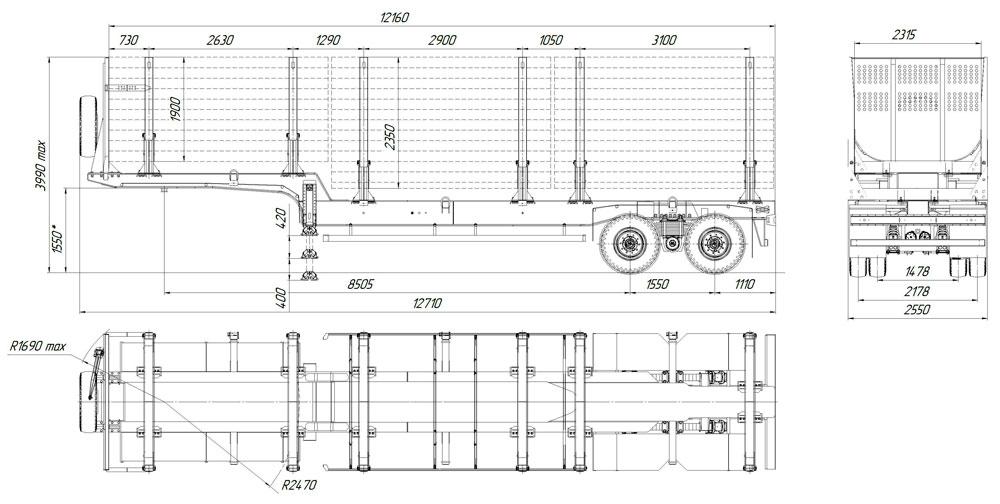 Габаритный чертеж полуприцепа-сортиментовоза марки УЗСТ 9175-001-К