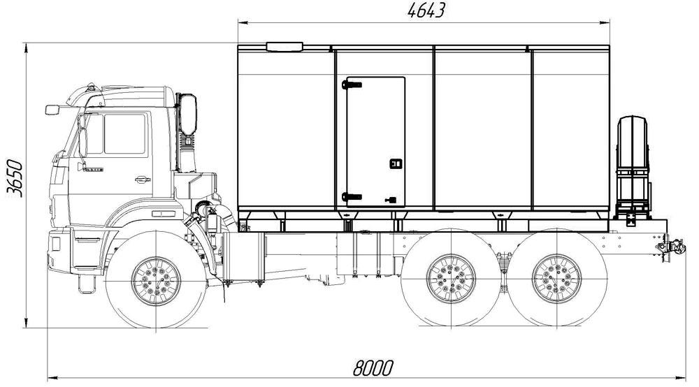 Габаритный чертеж парогенераторной установки ППУА 1600/100 Камаз 43118-3027-50 (насос Kopper Pump PL-60)