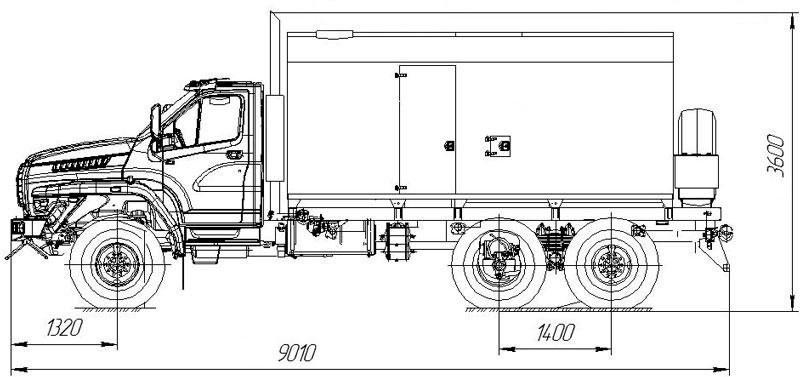 Габаритный чертеж парогенераторной установки ППУА 1600/100 Урал NEXT 4320-6952-74Е5Г38 1,1 ПТ