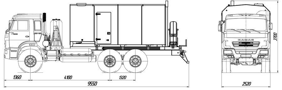 Габаритный чертеж паропромысловой установки ППУА 1600/100 Камаз 43118-3861-37 на метане