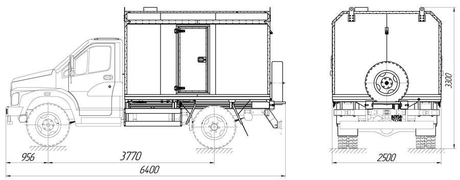 Габаритный чертеж паропромысловой установки ППУА 500/0,6 ГАЗон NEXT С41R13