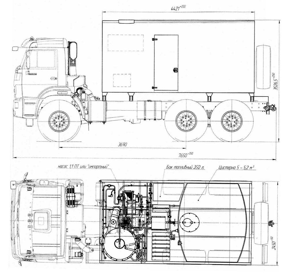 Габаритный чертеж паропромысловой установки ППУА 1600/100 Камаз 43118-3011-50 (002)