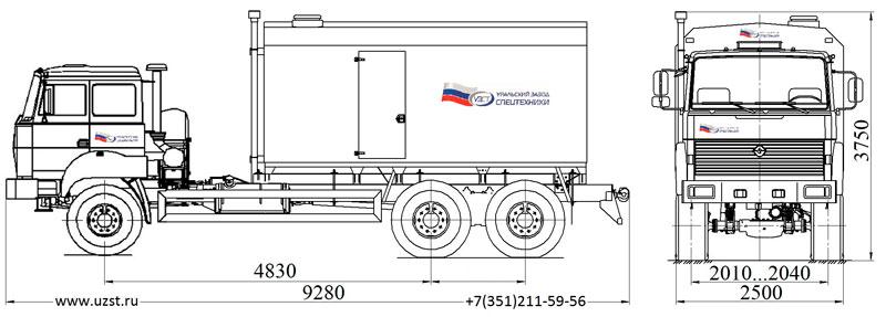 Габаритный чертеж парогенераторной установки ППУ 1600/100 Урал 4320-4972-80Е5 (насос, 2,3ПТ)