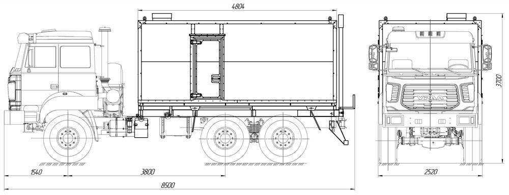 Габаритный чертеж паропромысловой установки ППУА 1600/100 Урал 5557-4512-80Е5