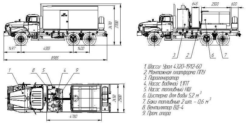 Габаритный чертеж ППУ 1600/100 Урал 4320-1912-60Е5