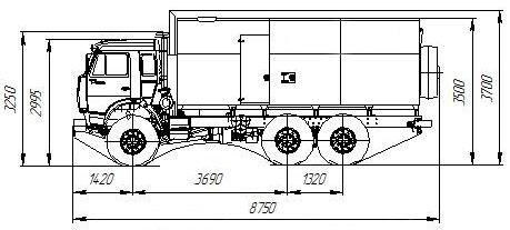 Габаритный чертеж паропромысловой установки ППУА 1600/100 Камаз 43118-3027-50 1,1 ПТ