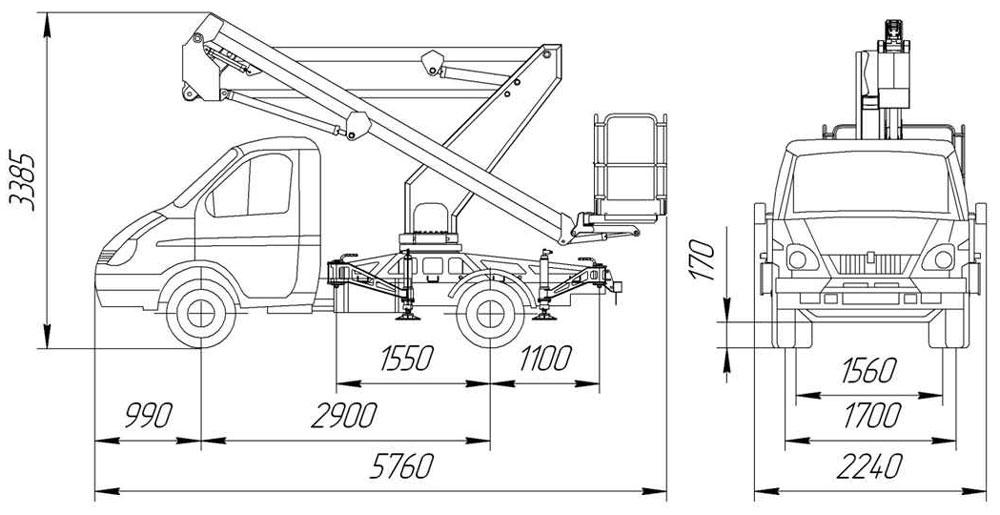 Габаритные размеры рычажно-телескопического автогидроподъемника АНТ-12-01 ГАЗ 3302