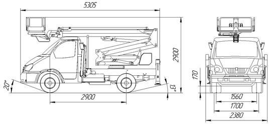 Габаритный чертеж рычажно-телескопического автогидроподъемника АНТ-17
