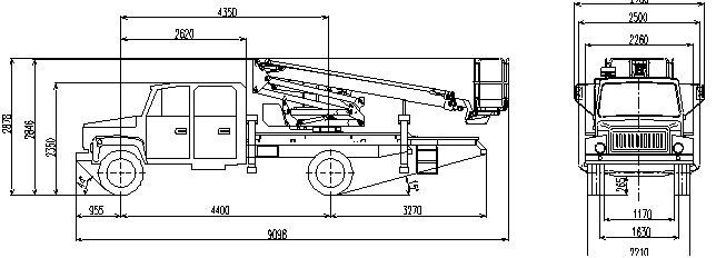 Габаритный чертеж рычажно-телескопического автогидроподъемника АНТ-20 ГАЗ 3309 с двухрядной кабиной