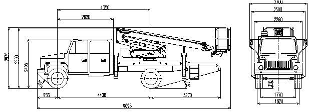 Габаритный чертеж рычажно-телескопического автогидроподъемника АНТ-20 ГАЗ 3381 с двухрядной кабиной