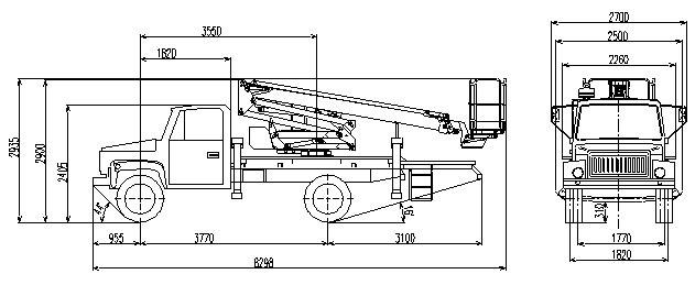 Габаритный чертеж рычажно-телескопического автогидроподъемника АНТ-20 ГАЗ 3381