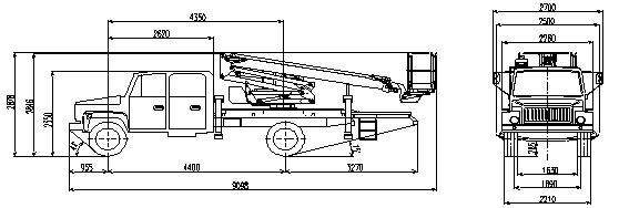 Габаритный чертеж рычажно-телескопического автогидроподъемника АНТ-20 ГАЗ 3386 с двухрядной кабиной
