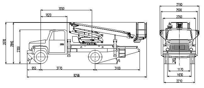 Габаритный чертеж рычажно-телескопического автогидроподъемника АНТ-20 ГАЗ 3309