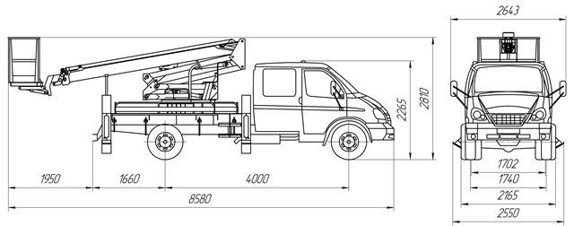 Габаритный чертеж рычажно-телескопического автогидроподъемника АНТ-20 ГАЗ 33106 с двухрядной кабиной