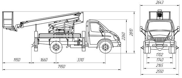 Габаритный чертеж рычажно-телескопического автогидроподъемника АНТ-20 ГАЗ 33106