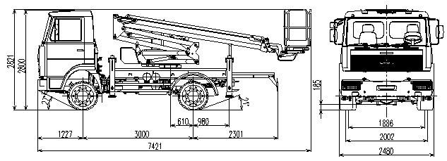 Габаритный чертеж рычажно-телескопического автогидроподъемника АНТ-20 МАЗ 4371