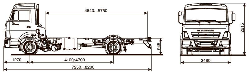 Габаритный чертеж шасси Камаз 4308