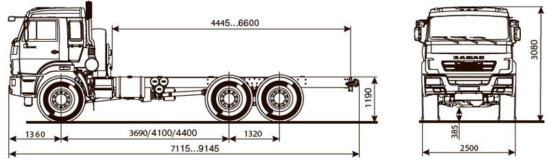 Габаритный чертеж шасси Камаз 43118